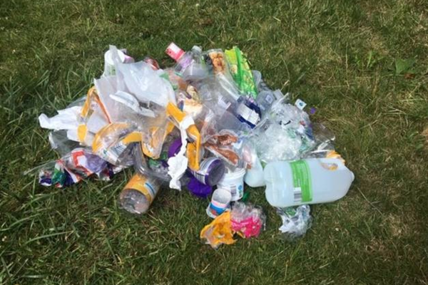 Image of plastic collected on grass