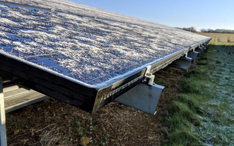 Solar panel in the morning light