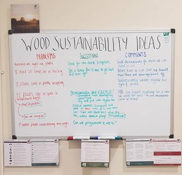 Photo of a whiteboard with 'WOOD SUSTAINABILITY IDEAS' written at the top and examples of 'problems', 'solutions' and 'comments'